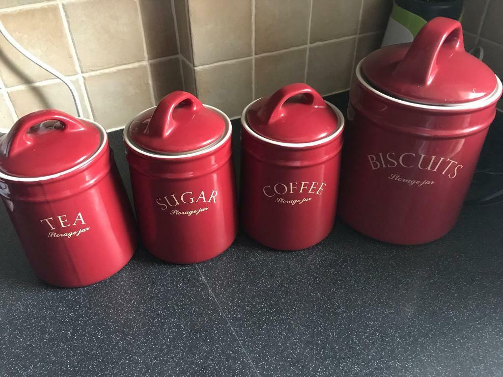 Red Ceramic Canisters Tea Sugar Coffee Biscuit In Nottingham City