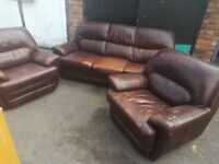 Sofas sale 3 seater 2 Chairs, Brown leather, been used in a mobile office has paint drip in places