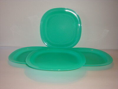 "Tupperware Microwave Safe Luncheon Dinner Plates 4pc Set 9.5"" Teal Sea Green New"