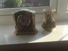 Masons clock and vase