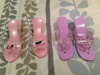 Girls plastic dress up shoes (2 pairs), great for pretend play, from pet and smoke free home