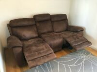 3 Seater Reclining Sofa - Brown