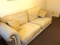 3 seater fabric sofas, with 2 matching cushions,in good condition.