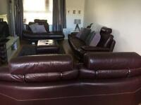 Leather suites - 3 seater , 2 seater , day bed & poufee