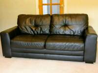 Black Faux Leather 3 Seater Settee