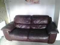 Two brown italian leather sofa's £100