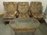 2 quality armchairs matching rocking chair and bamboo coffee table. FREE DELIVERY