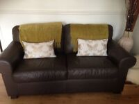 Excellent brown real leather 2 seater settee