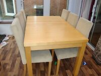 dining table with 6 chairs and a side cabinet for sale