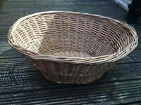 Large oval traditional wicker washing basket