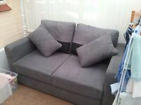 Grey suede double sofa bed in good condition for sale!