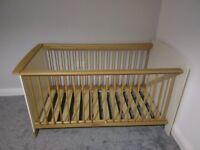 Oak Cot/ Convertible Toddler Bed & Mattress