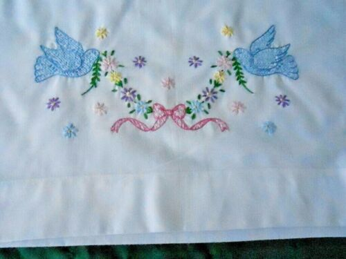 ANTIQUE WHITE COTTON PILLOWCASE WITH HAND EMBROIDERED BLUE BIRDS, CIRCA1940