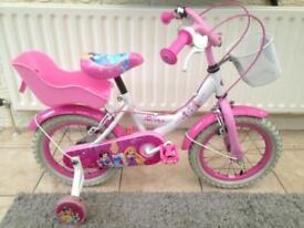 "Girls Disney Princess 14"" bike and Hello Kitty scooter/free Disney princess helmet"