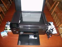 HP Photosmart B110 All-in-One Printer/Copier/Scanner, Wi-Fi or USB, 5 Extra Unused Ink Cartridges.