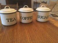 Set of 4, enamel kitchen storage, including utensils pot