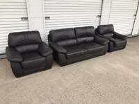 Dark brown leather sofa set, free local delivery