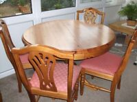 EXTENDABLE PINE TABLE + 6 CHAIRS + DRESSER
