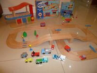 ELC Wooden World Road and Rail System with Garage