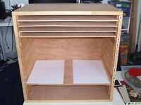 A3 plan chest/organiser cabinet. Adjustable shelves. 16 compartments.