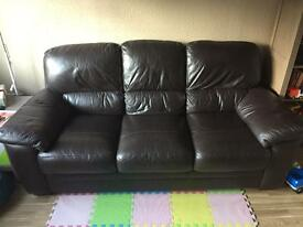 3 seater leather sofa with single chair