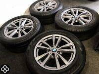 "GENUINE 18"" BMW X5 ALLOY WHEELS & TYRES - 5 x 120 - FERRIC GREY"