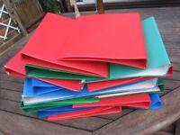 assortment of ring binder files
