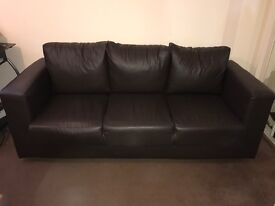 Brown leather-look sofa, good condition