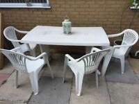 Large white garden table and 4 chairs, patio set