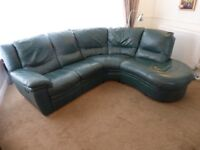 Green leather turn-end 5-seater sofa with recliner, armchair and storage stool