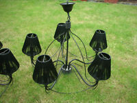TWO BLACK CHANDELIERS