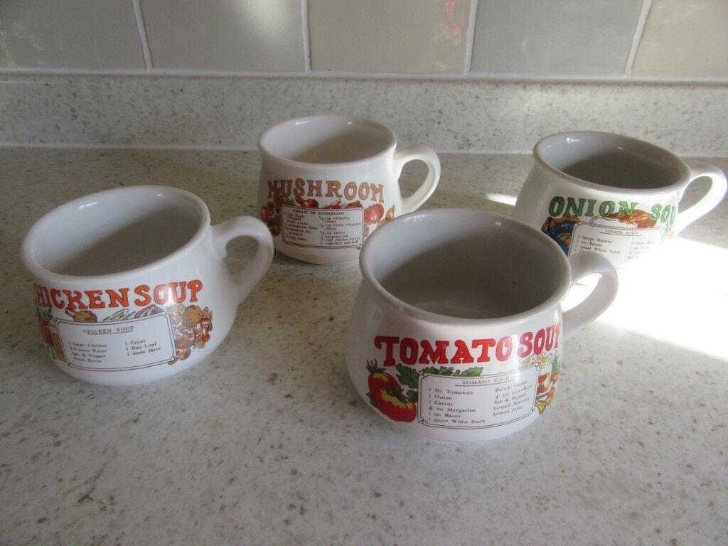 Set Of 4 Vintage Retro Soup Bowls Cups With Recipes Lovely Condition