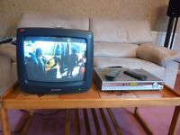 """Sharp 14"""" CRT TV and Humax Freeview PVR"""