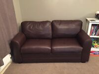Brown sofa bed leather