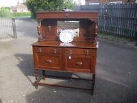 Wonderful Oak 1920's Barley Twist Sideboard Side Cabinet