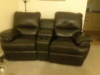 Black leather electric recliner settee