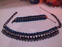 M&S crystal velvet style necklace & bracelet