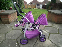 Childrens Double Dolls Stroller/Pram. As New Condition. Comes From A Smoke-Free Home