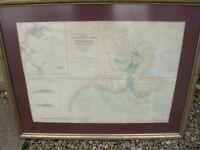 COLOURED PETERHEAD HARBOUR ADMIRALTY CHART DATED 1847