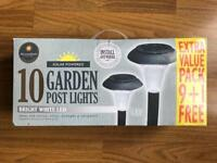 BRAND NEW SOLAR POWERED 10 GARDEN POST LIGHTS - BRIGHT WHITE LED