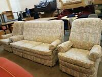 Parker Knoll high back 3 seater with 2 armchairs sofa suite