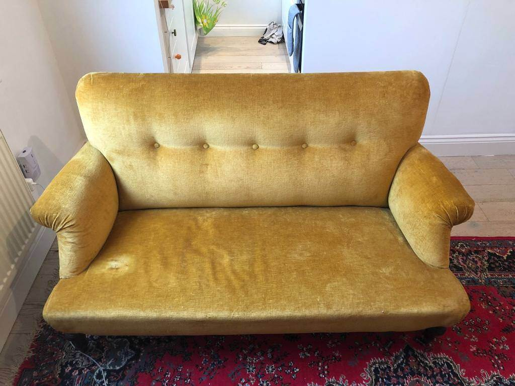 Antique Mustard Velvet Sofa On Back