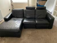 Leather black sofas