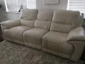 Cream leather reclining sofa and reclining chair