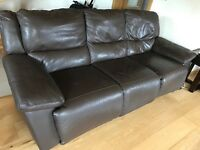 Electric Reclining Brown Real Leather Sofa Suite 3+2 + 1 seater,very good condition