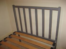Grey metal 3ft single bed frame with wooden slats