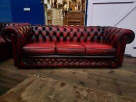 Thomas Lloyd Oxblood Chesterfield 3 Seater Sofa