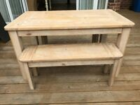 solid pine Huxley Dining Table And Bench Set