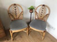 Two cane bent wood bamboo chairs