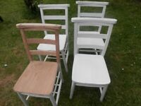 4 DINING ROOM CHAIRS READY TO BE STRIPED OR PAINTED